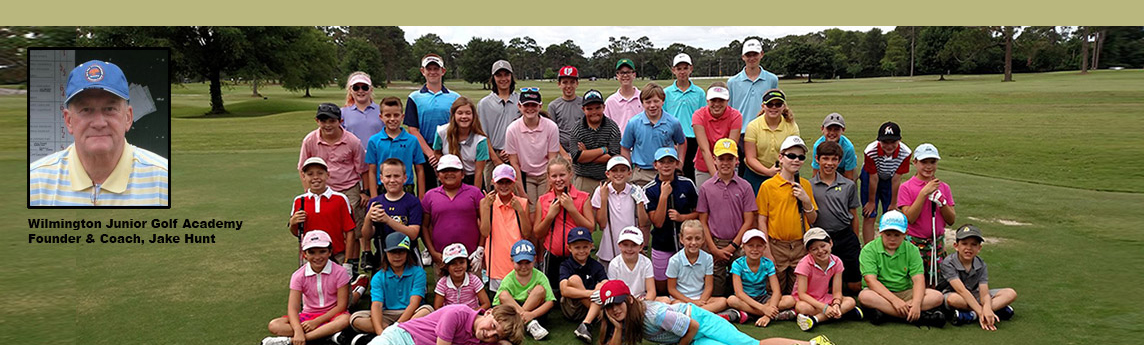Founder Jake Hunt with students from the Wilmington Junior Golf Academy